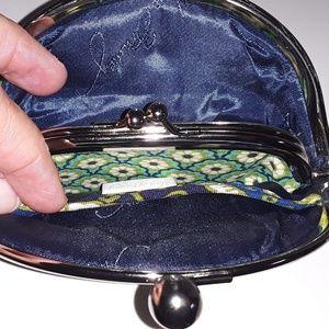 Vera Bradley double kiss coin purse EUC
